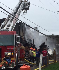 Crews were on the scene Tuesday continuing to deal with the aftermath of the fire. The fire caused Frontier phone service to be down for customers in Middleport and Rutland. Day allegedly set fire to the back of the Ingels building. Photo by Carrie Gloeckner.