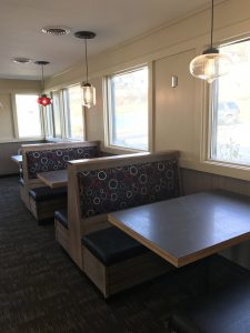 New booths and softer, modern lighting await customers of the Pomeroy Pizza Hut following the dinning room remodeling project. Photo by Carrie Gloeckner.